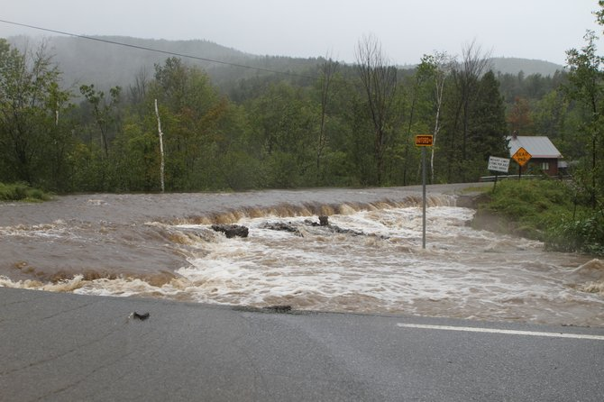 Hayford Road in Ticonderoga was one of many highways closed by flooding and erosion during Hurricane Irene. The storm also knocked out power to thousands.