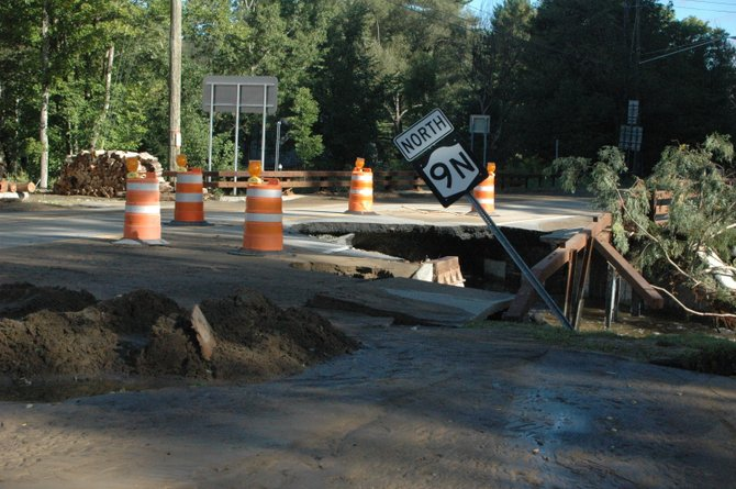 The Bridge at the entrance to Route 9N in Keene was washed out by the flooding Dart Brook on Aug. 28.