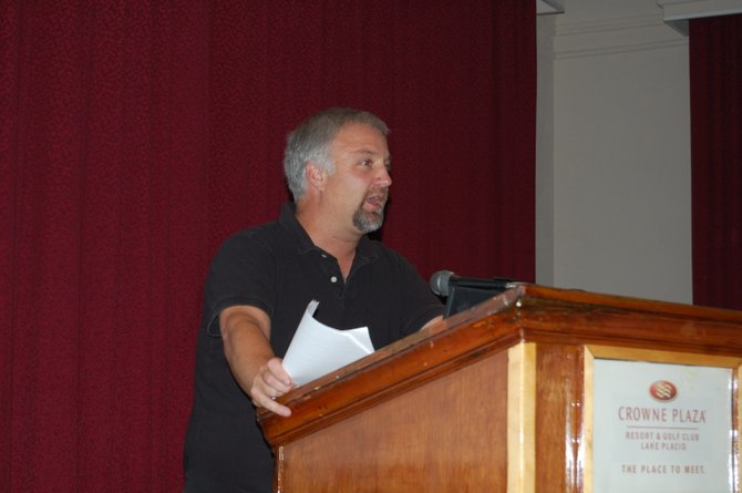 Jim McCulley, president of the Lake Placid Snowmobile Club, argued Aug. 30 at the Crown Plaza in favor of the conversion of the Adirondack railroad line into a 34-mile recreational trail.