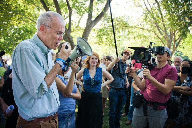 Author and activist Bill McKibben, a Johnsburg resident and Middlebury college professor addresses the crowd at a civil disobedience protest. The event is scheduled to end Sept. 3, a total of two weeks protesting outside the White House.