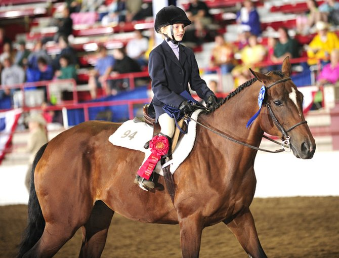 Lauren Roney, 9, of Skaneateles, competed in the American Quarter Horse AQHA competition in four different classes at the state fair last week. It was her first time competing at the state fair and only her second time showing on horseback, and she left with three 1st place ribbons and one 2nd place ribbon.