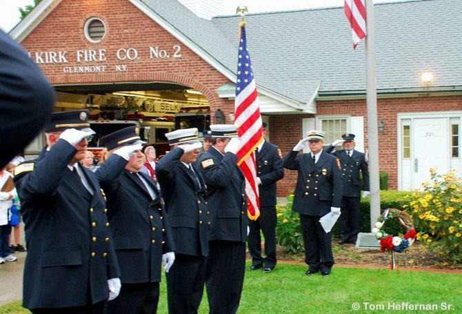 The Selkirk Fire District is one local fire department holding a remembrance ceremony on Sunday, Sept. 11, on the 10th anniversary of the terrorist attacks of 2001. Members of the department are shown here in a past ceremony.
