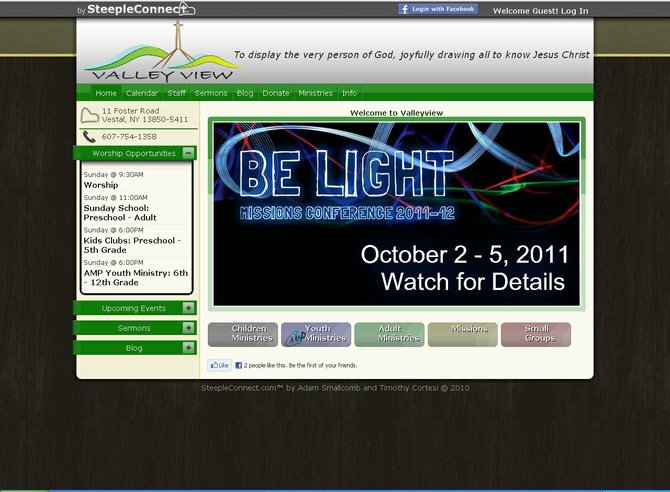 Valleyview Alliance Church of Vestal was the first church to get online with steepleconnect.com, a new platform being offered by eSolve Solutions of Latham. The company is hoping to attract more congregations to the system, which is custom-tailored for the needs of churches.