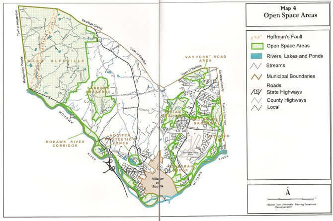 "This map shows areas within Glenville designated as ""open space,"" which is typically undeveloped, rural, or protected areas.  The map was compiled by Glenville officials as part of its Open Space Plan, which was approved in 2008. NOTE: Two separate images were placed together by The Spotlight to form a complete map."