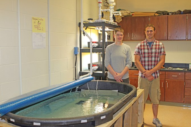 Schroon Lake Central School teachers Cookie Barker and Mat Riddle have developed a trout project for students in their science classes. As part of the project Barker and Riddle have designed and built a 300-gallon, self-sustaining aquatic ecosystem.