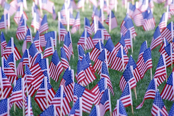 More than 3,000 American Flags were placed on the lawn outside DeWitt Town Hall to honor the memory of lives lost on 9/11.