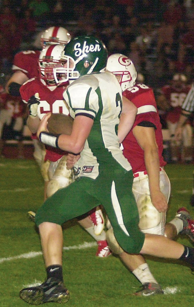 Shenendehowa quarterback Teddy Van Galen takes off during last Fridays game at Guilderland. The Plainsmen shut out their second consecutive opponent with a 27-0 victory over the Dutchmen. Shen hosts unbeaten Shaker Friday. 