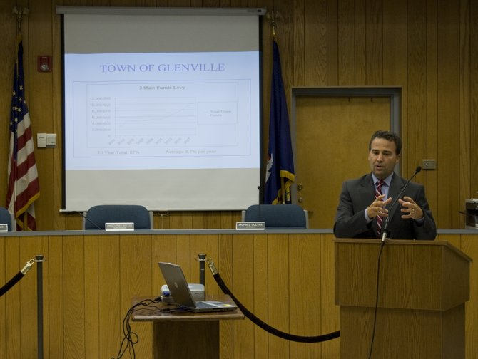 Glenville Supervisor Christopher Koetzle discusses the town's budget for 2012 during a budget forum on Wednesday, Sept. 7.