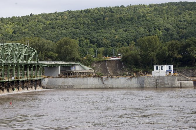 The roadway to the Route 103 bridge from the Glenville side was washed out by floodwaters from the Mohawk River.