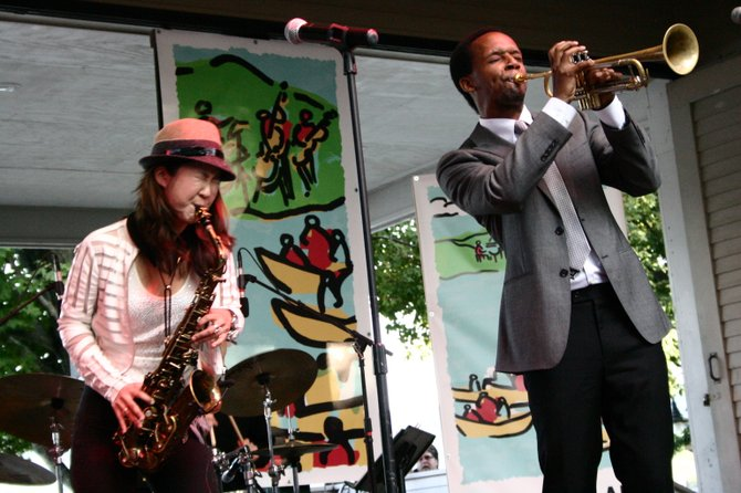Jazz star Saxophonist Grace Kelly, 19, performs a duet with band member Jason Palmer Saturday during the first day of Lake George Jazz Weekend. She and other musicians through the weekend — representing a wide variety of jazz genres — thrilled audiences with their improvisations.