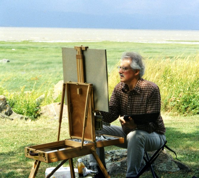 Len Tantillo takes in nature and paints outside during a trip to Canada a few years ago. He will have an exhibit featuring 50 paintings at the new George Franchere Education Center located at the Mabee Farm.