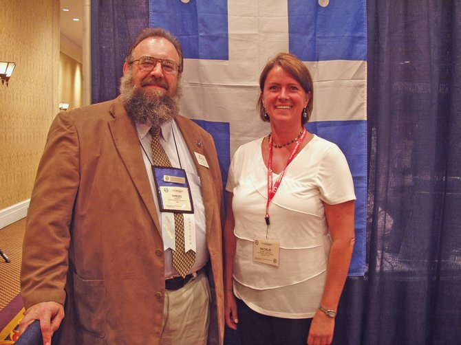 Natalie Royer-Loiselle, French teacher at Schroon Lake Central School, recently attended the 84th annual convention of the American Association of Teachers of French. At the conference she met Gregg Siewert, of Truman State (Missouri) University and AATF representative for the West Central Region.