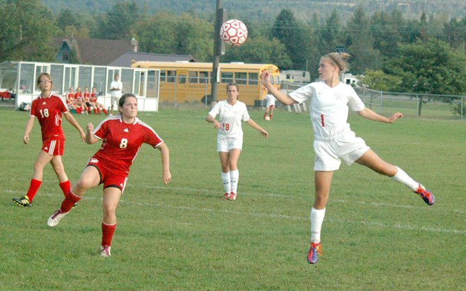 Saranac's Ellen Thew, 1, set the school's goal-scoring record with her hat trick performance against Northeastern Clinton Sept. 22.