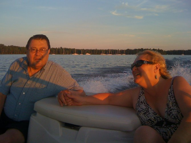MaryAnne Bukolt-Ryder and her husband, Herb Ryder, together on Lake Champlain.