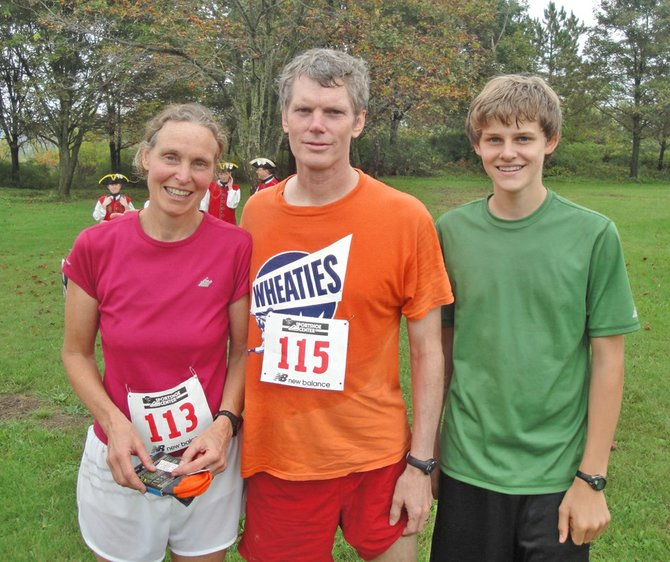 The Chapmans of Ticonderoga won the family championship at the seventh annual Footrace at Fort Ticonderoga. From left are Malinda, Glen and Colvin Chapman.