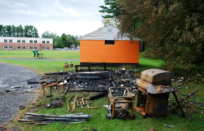 A Friday, Sept. 23, fire consumed a shed built by Bethlehem Pop Warner at the Bethlehem Central Middle School. Police are calling the blaze arson, and school officials say this is merely the latest in a string of vandalisms over the past few months.