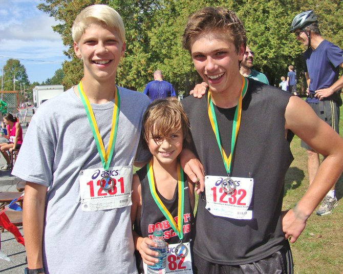 Schroon Lake Central School runners completing the Adirondack Half marathon were, from left,  Dan Maisonville, Levi Williams and Caleb Maisonville.