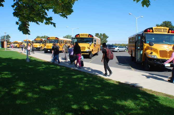 Bussing services offered by the Northeastern Clinton Central School District are among things under scrutiny by the board of education as the district looks for way to save money in the next fiscal year.