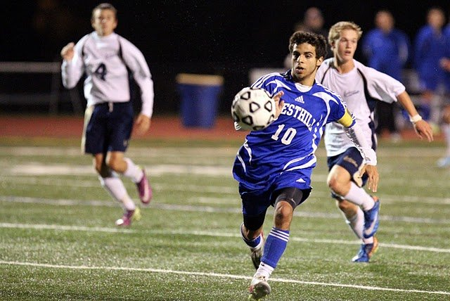 Westhill senior forward Anthony Scaravillo (10) streaks down the field in Thursday night's game at Skaneateles. Scaravillo picked up seven goals in two games, all in the first half, during wins over Cazenovia (4-2) and Skaneateles (5-3) this week.