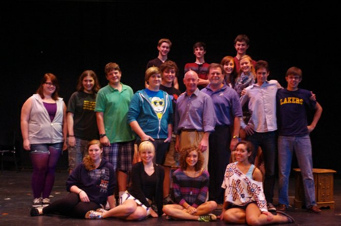 The cast and crew of Noises Off! with regional actor, Simon Moody, during a recent drama workshop on characterization and theater skills. Front row: Jennifer Richardson, Maddie Legg, Phoebe Yates, Gabriella Whiting; second row: Mariah McCarron, Alyssa Norris, Zach Driscoll, Ben Cooper, Simon Moody, Micheal Kringer, Thomas Boxho, Daniel Kringer; third row: Matt Payne, Allie Hagen, Natalie Krause; back row: Joe Hagen, Lucano Petrocci, Nick Kochan.