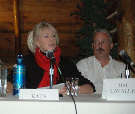 Kate Fish, Executive Director of Adirondack North Country Association and member of the North Country Regional Economic Development Council, speaks during a forum in Lake Placid Oct. 5.