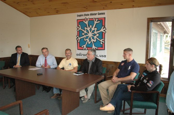 Bill Callen of Behan Communications, Empire State Winter Games Organizing Committee Director James McKenna, Saranac Lake Mayor Clyde Rabideau, ORDA Director of Events Jim Goff and Olympians John Napier and Erin Hamlin, both ESG alumni, talk about the 2012 games Oct. 12.