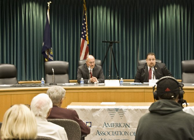 Democrat incumbent Supervisor Joe Landry, left, and Republican Anthony Pennacchio, right, started off the League of Women Voters of Schenectady County Niskayuna Candidates Forum on Wednesday, Oct. 12.