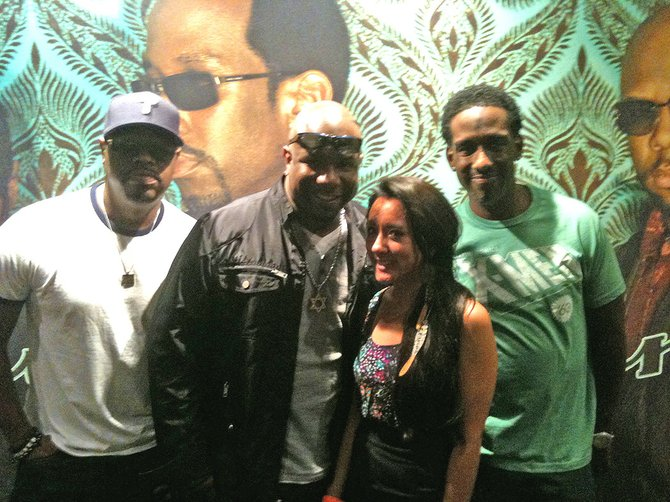Reporter Alyssa Jung with Boyz II Men.