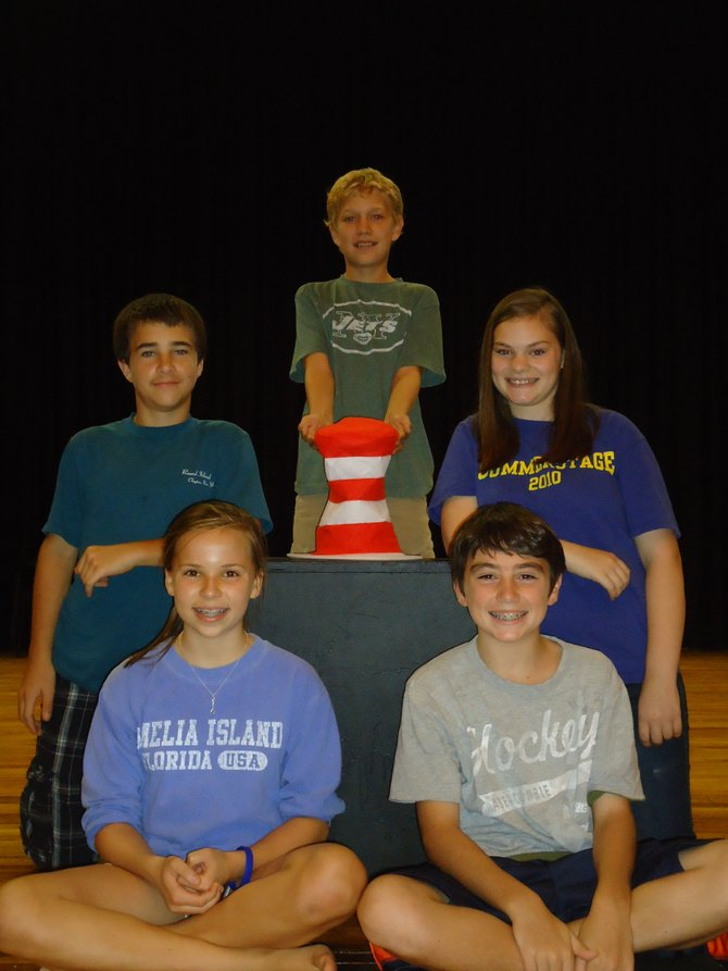 SEUSSICAL JR. LEAD CAST: Mimi Gabor, bottom left, sits alongside Zach Maxwell, in front of Tim Kempton, left, Emily Kielbasinski and Trevor Nourse, center. The students will perform three times during the weekend of Nov. 5.
