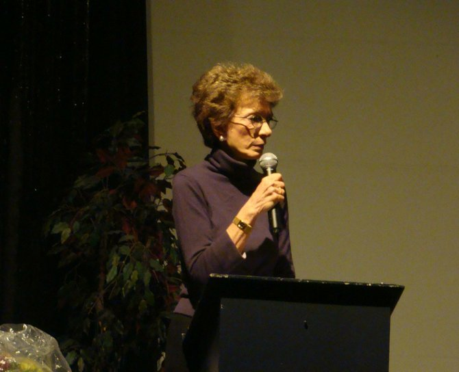 Betty Rollin speaks to audience members during the Cazenovia Forum sponsored lecture, Oct. 14 in Catherine Cummings Theatre.