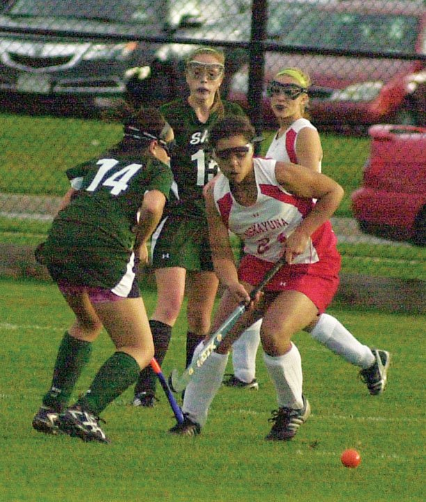 Niskayuna back Talia Salenger (24) knocks the ball away from a Shenendehowa player during the first half of an Oct. 21 Suburban Council game.