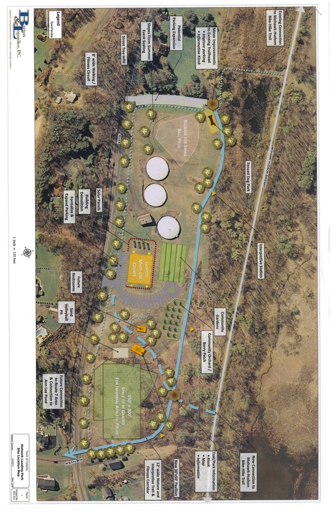 A diagram of the proposed Mohawk Landing park shows  the location of items such as the tennis court, basketball court and the pavilion. This drawing was presented to the public at a Town Board meeting on Thursday, Oct. 20.