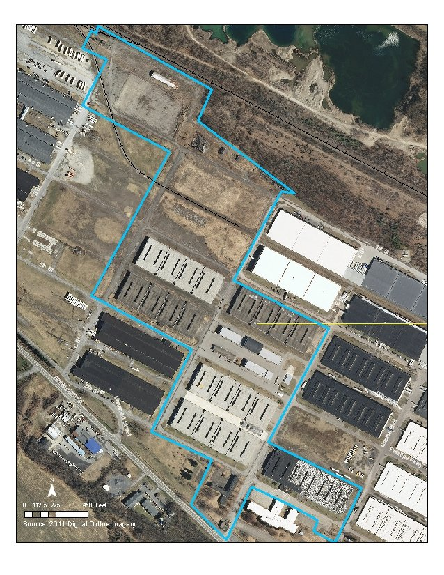 This map outlines in light blue the area encompassing the former Scotia Navy Depot site located in Glenville.