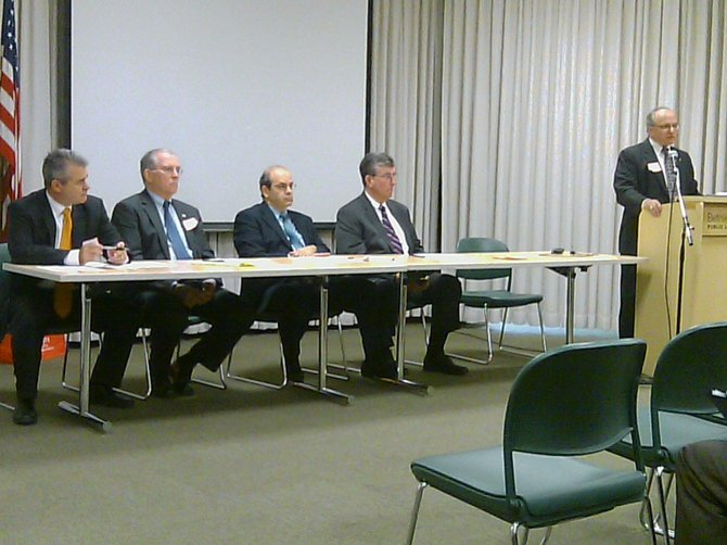 A summit was held Oct. 25 at the Bethlehem Public Library to discuss issues relating to care for seniors. Pictured from left to right: State Assemblyman Steve McLaughlin, Albany County Executive Michael Breslin, former State Office for the Aging Director Michael Burgess, State Senator Neil Breslin, and Bethlehem Supervisor Sam Messina.