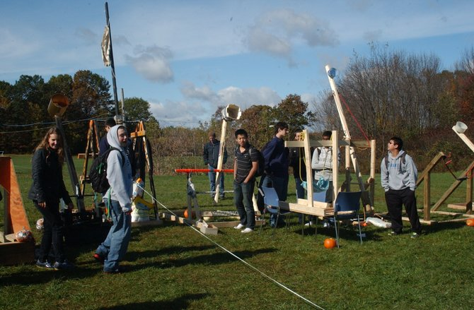 Students participated in a unique event at Shaker High School on Friday, Oct. 28 and Monday, Oct. 31, where they launched pumpkins into the air and competed for who could launch theirs the furthest. Students were not given any specifics of what type of launcher to build except that the pumpkin had to travel more than five meters.