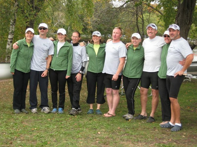 Members of the Men's and Women's Masters Fours from the Cazenovia Rowing Club who competed at the Head of the Charles Regatta in Boston gather after proceedings to celebrate their successes. Eleanor Ludwig, left, stands alongside Steve Ludwig, Laurel Moffat, Scott Laffer, Jen Moffat, Steve Davison, Marie Buckley, Dave Jureller, Mindy Holgate and Bill Carroll.