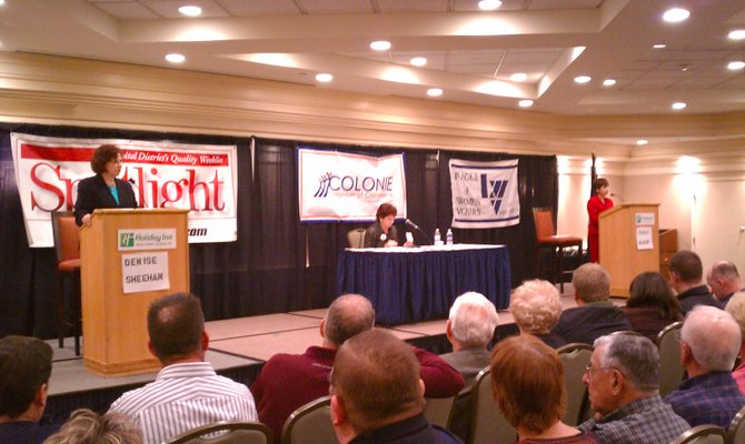 Candidates for Colonie town supervisor Denise Sheehan, at left, and Paula Mahan met in debate Wednesday, Nov. 2, at the Holiday Inn on Wolf Road. They discussed all manner of issues before a packed room, including some that have not seen wide attention in this contentious race.