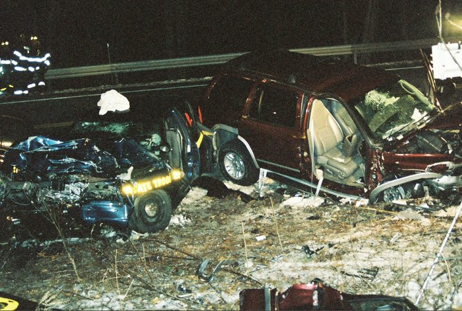 State Trooper Ian DeGiovine was one of four injured in this 2006 crash involving a drunk driver. DeGiovine told his story during a Nov. 1 news conference to announce results of the latest DWI enforcement effort in Albany County.