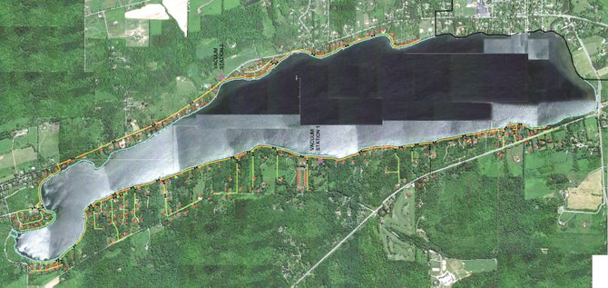 Aerial drawings were created to illustrate characteristics of the proposed vacuum-sewer system that would encompass Cazenovia Lake. Representatives from AIRVAC estimate the project would cost about $4.6 million, and drastically improve the lake's water quality.