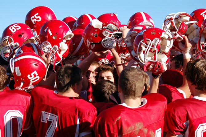 Red Storm players celebrate their Nov. 5 game against AuSable Valley.