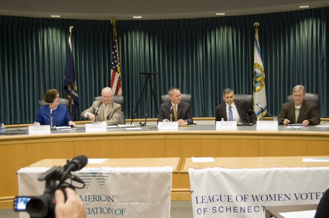 Schenectady County Legislature candidates faced off during a forum sponsored by the League of Women Voters on Oct. 12 at Niskayuna Town Hall. Sitting from left is Cathryn Bern-Smith, James Buhrmaster, Thomas Constantine, Michael Dieterich, and Kurt Semon. Not pictured is Democrat candidate Catherine Gatta, who was unable to attend the forum.