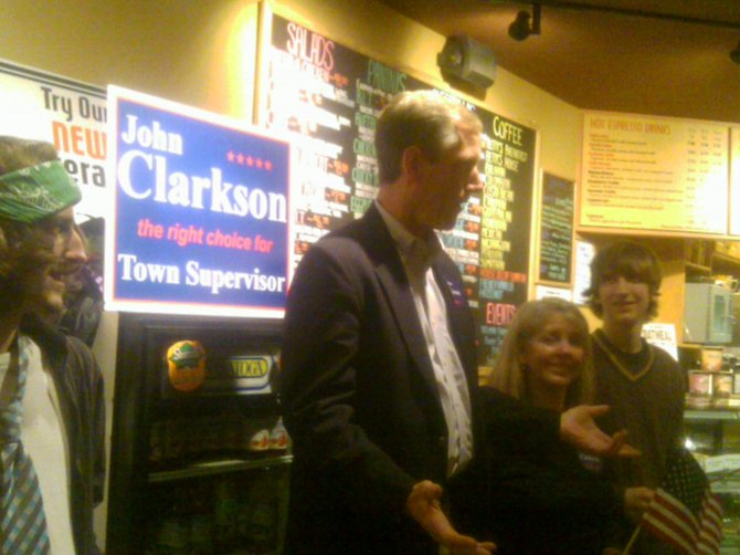 Supervisor-elect John Clarkson speaks to supporters at the Perfect Blend in Delmar after declaring victory Tuesday, Nov. 8.