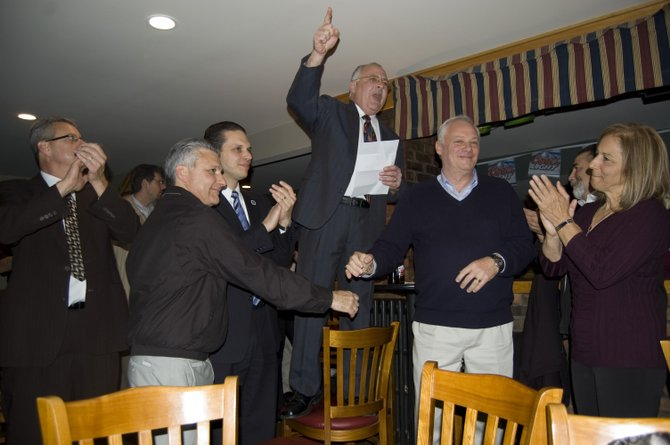 Rotterdam Democratic Committee Chairman and Schenectady County Legislator Anthony Jasenski once again stood atop a chair and gave a victory speech after the 2011 General Election results secured nearly all the parties bids.
