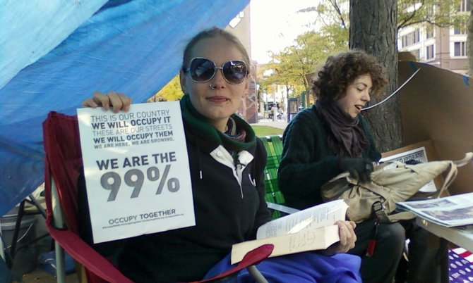 OCC student Shara Jean Hansen, pictured here, organized a recent Occupy movement teach-in at OCC.