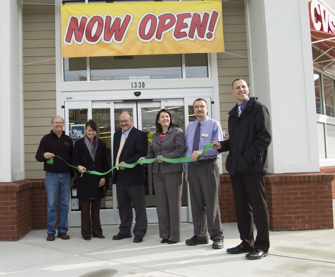 The ribbon was cut Thursday, Nov. 3, on a newly renovated CVS store on Balltown Road in Niskayuna. From left, David Ray of Gordon Development, District Sales Manager for CVS Jane Schember, Niskayuna Supervisor Joe Landry, Councilwoman Denise Murphy McGraw, Store Manager Steve Durante and Pharmacy Supervisor Todd Pikor.