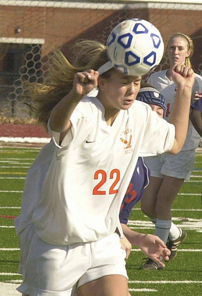 Bethlehems Stephanie Dootz heads the ball during the Nov. 12 Class AA regional against Liverpool in Stillwater. 