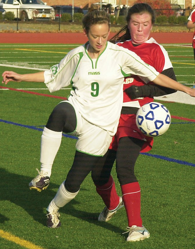 Schalmont's Jenna Saccocio steps in front of a Beekmantown player to play the ball during the Class B regional game Nov. 12 at Stillwater High School.