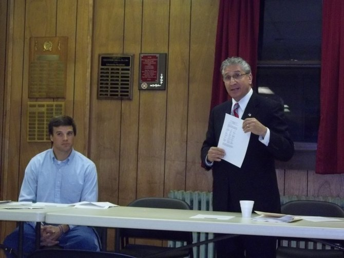 Assemblyman Jim Tedisco, right, and ARA President Andy Gilpin speak with residents about saving the post office.