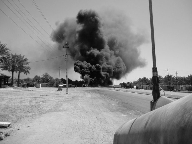 Army Staff Sergeant Robert Spohr Jr. took this photo of a detonated improvised explosive device during his service in Iraq. Spohr was one of four veterans to display his photos during an exhibition Nov. 19 at the Breathing Room in Delmar.