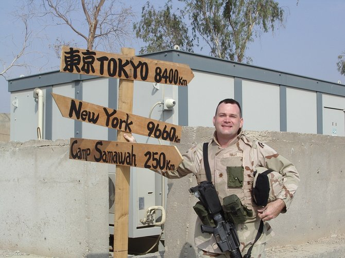 Matthew Tully at Camp Liberty in 2005, which was the American military base at Baghdad International Airport.